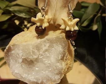 Snake vertebrae and tiger's eye stone earrings