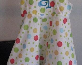 Super cute polka dot full skirted girls dress Sizes 3T to 14 girls, Great for Easter