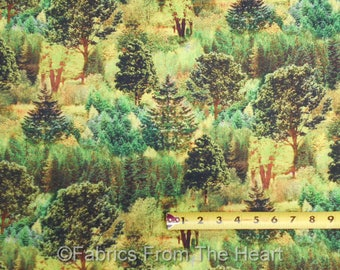 Forest Mountain View Woods Nature Green Pine Tree BY YARDS Fabri Quilt Fabric