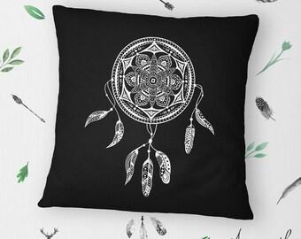 Dream Catcher Mandala on Hand-sewn Organic Cotton Throw Pillow Cover/Cushion Cover in Black, 16x16 inch (40x40 cm)