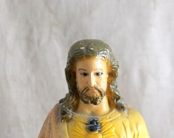 Vintage Chalkware Jesus Statue, Sacred Heart, Made In Mexico