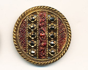 Antique Button - Brass with Cut Steel and Red Tint MINT - BEAUTIFUL  ca. 1890's