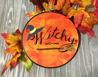 Witchy Woman Halloween Decoration Witch Art Autumn Decor Halloween Art Fall Decorating Halloween Wall art Halloween embroidery