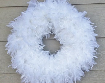 White Feather Wreath 27'' HUGE - ships quick