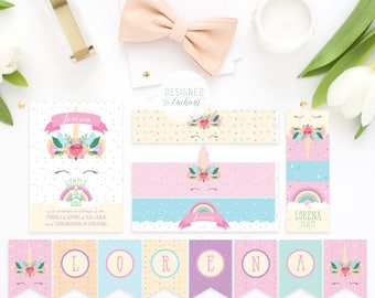 Unicorn Printable Party package, Unicorn Rainbow Party Decoration, Unicorn Birthday Party, Unicorn Party Printables