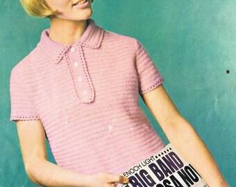 9508P Ladies  jumper  crochet vintage pattern PDF instant download