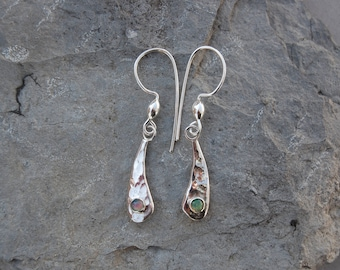 Ethiopian Black Opal Sterling Silver Dangle Earrings Hammer Forged Drops 7/8""
