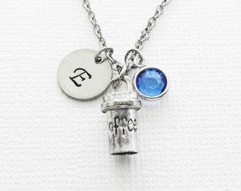 Coffee Mug Necklace, Coffee Jewelry, Coffee Lover, To Go Coffee, Swarovski Birthstone, Silver Initial, Personalized Monogram, Hand Stamp