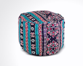 """Round Ikat Pouf Ottoman, Blue, Black and Red. Ethnic, Boho Pouf, Floor Cushion. Handwoven in Indonesia. 20""""W x  13.5""""H"""