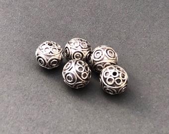 6 mm Silver Bali Bead Style B523