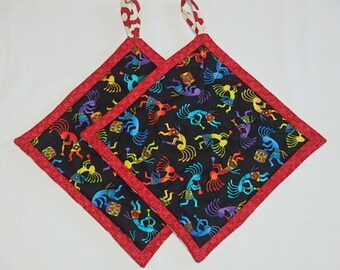 Kokopelli Potholders 2, Quilted Kokopelli Hot pads, Unique Kokopelli Pot holders Gift