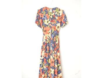 floral button down vintage skater midi dress 80s // M