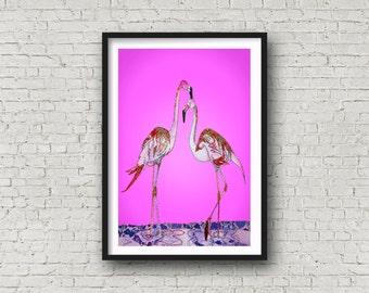 Pink Flamingo - Flamingo - Pink - Pink Birds - PRINT