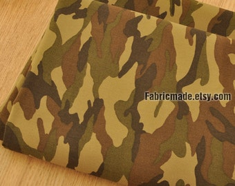 Camouflage Cotton Fabric, Dark Green Brown Camouflage Fabric-1/2 yard