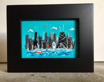 "Ready to ship.  Mini Chicago skyline painting,  in choice of frame, hand painted acrylic, Smigielski ooak, ""Steamship to Chicago"""