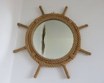 AUDOUX MINET braided rope mirror the shape of rudder mid century 1950's 1960's 50's 60's vintage rope mirror
