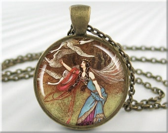 Six Swans Pendant, Warwick Goble The Six Swans, Fantasy Art Pendant, Fairy Tale Picture Jewelry, Round Bronze Pendant, Girl Gift 413RB