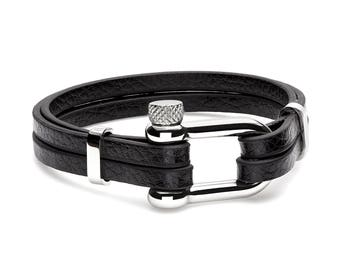 Black Genuine Leather Stainless Steel Horseshoe Clasp Adjustable Bracelet