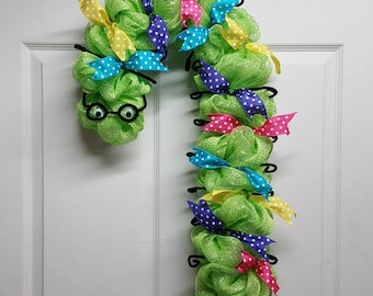 Hungry Caterpillar Wreath, Inchworm Wreath, Teacher Wreath, Gift for Teacher, School Decor, Teacher Gift