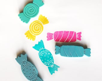 Set hand carved stamps, set of three hand made sweets stamps,