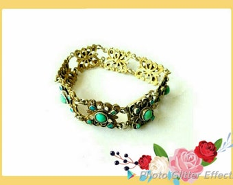 Antique Austro-Hungarian Green Turquoise and Gold Bracelet (191)