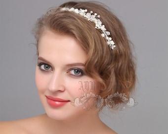 Wedding Hair Accessories, Bridal Headband, Ivory White Pearls Rhinestone Head Band Hair Vine, tiara, Bridal hair jewelry Head Piece
