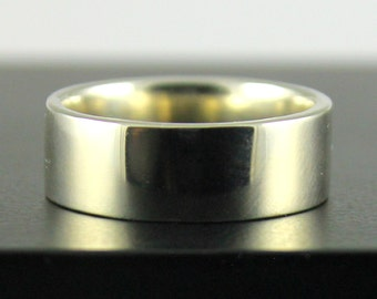 14K Gold Wedding Band for Him - 8mm Flat Design Band Comfort Fit - White Yellow or Rose Gold