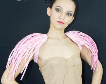 Fantasy pink boned crinoline pistils shoulders.