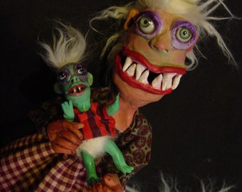 Reserved for Millie Mortimer's Lady Friend and Baby Mort...Monster OOAK Art Dolls