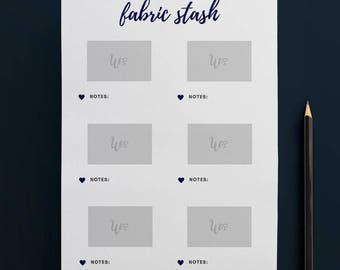 Printable Fabric Stash Organiser in NAVY (6 to Page) // Fabric Planner //Printable Planner // A4 Size  //Paper // Instant Download