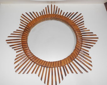 Sunburst Mirror French large Vintage Rattan Bamboo, 1960's wall  hanging mirror.