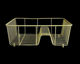 Retro Wire Dish Rack Metal Light Harvest Gold Yellow 1960s 1970s Kitchen Vintage Sink Drying Insert