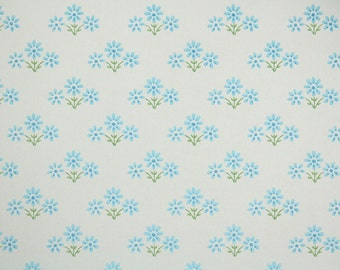 Retro Wallpaper by the Yard 60s Vintage Wallpaper - 1960s Blue Daisy Floral on White