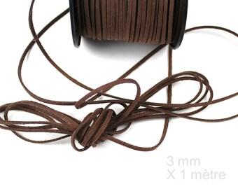 Cord Brown 3 mm / 1. 5 mm X 1 meter