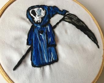 Cute Reaper Embroidery Hoop