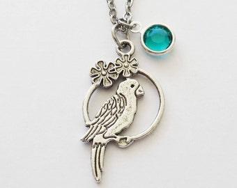 Parrot Necklace, Parakeet, Toucan, Bird Jewelry, Aviary Jewelry, Tropical Animal, BFF, Silver Jewelry, Swarovski Channel Crystal Birthstone