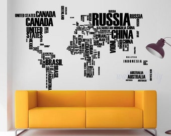 Giant world map wall decal map wall stencils abstract world world map wall decal countrys name wall mural world map wall stickers world map wall murals gumiabroncs Images