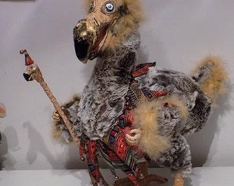 "Dodo, Dodo doll, Dodo clown, Alice in wonderland, Alice party, Dodo party, art doll, poseable doll, creasy bird, 15"""