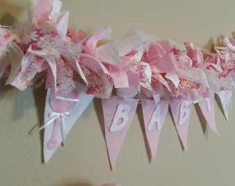 Baby Shower Decoration, Baby Girl Gift, Welcome Baby Banner,  Baby Girl Garland, Pink Garland, Birth Announcement