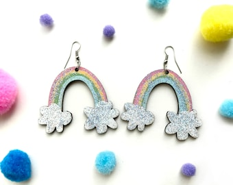 RAINBOW glitter statement earrings