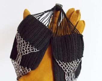 Victorian crochet miser purse / Antique 1800s beaded coin purse/1900s  flapper purse/ Civil War era