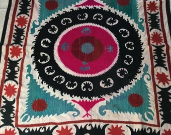 Antique Uzbek Vintage Hand Embroidered 100% Original Wall Hanging Tablecloth Suzani