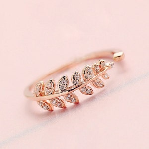 Fern Flora Zircon Rose Gold Ring