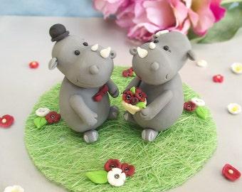 Unique wedding cake toppers Rhinos - optional grass base - funny animal figurines zoo safari jungle honeymoon personalized purple blue red