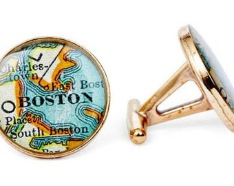 Boston Map Cufflinks Antique Atlas Solid Golden Bronze Heirloom Cast One Piece Free Shipping Globe