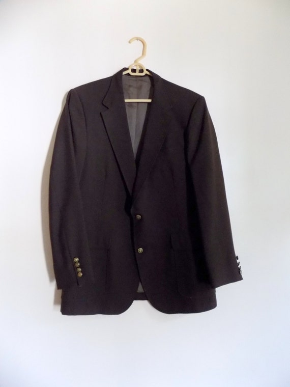 80s Mens Jacket, Brown, Sport Coat, Suit Coat, Blazer, Gold Buttons, 1980s, Imperial by Haggar, Mens Vintage Clothing, Size 42