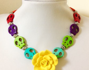 Sugar Skull Necklace Yellow Rose Day of the Dead Jewelry