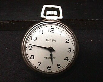 A Vintage Westclox Bull's Eye Pocket Watch in Great Running Condition  # 58