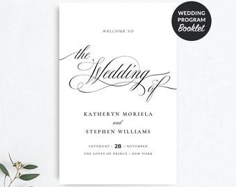 Wedding Program Booklet Template, Folded Wedding Programs, Classic Elegant Wedding Ceremony Programs, Traditional Wedding Program Template