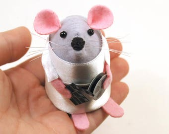 Film Buff Mouse - collectable art rat artists movie fan mice felt mouse cute soft sculpture toy stuffed plush gift for film buff - Flick